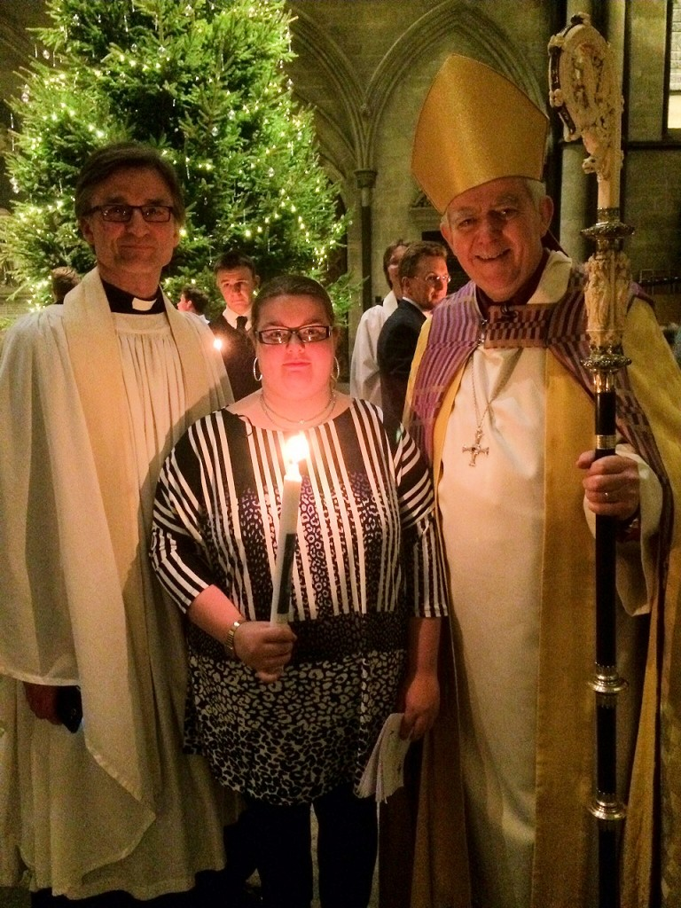 Kate Layton-Jones after her Confirmation in Salisbury Cathedral with Bishop Nick and Rev Nils Bersweden on Saturday January 10th 2015