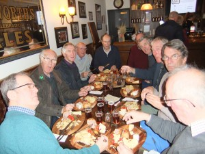 Men of Pitton cultural visit to the Wadworth's Brewery on the 9 December assessing the finished product.