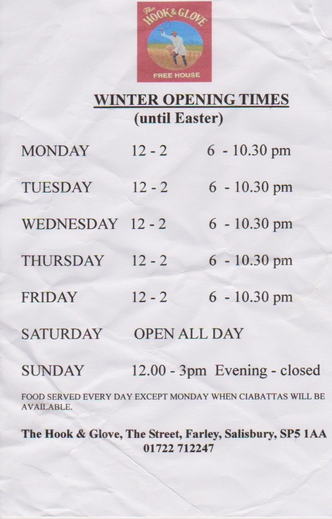 Opening Times (winter)