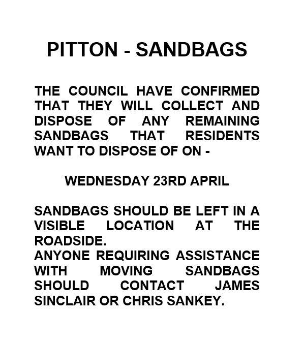 Sandbags - April 18th