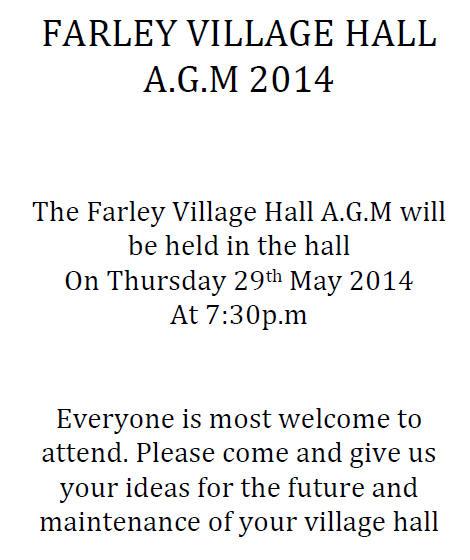 Farley Village Hall 2014 AGM