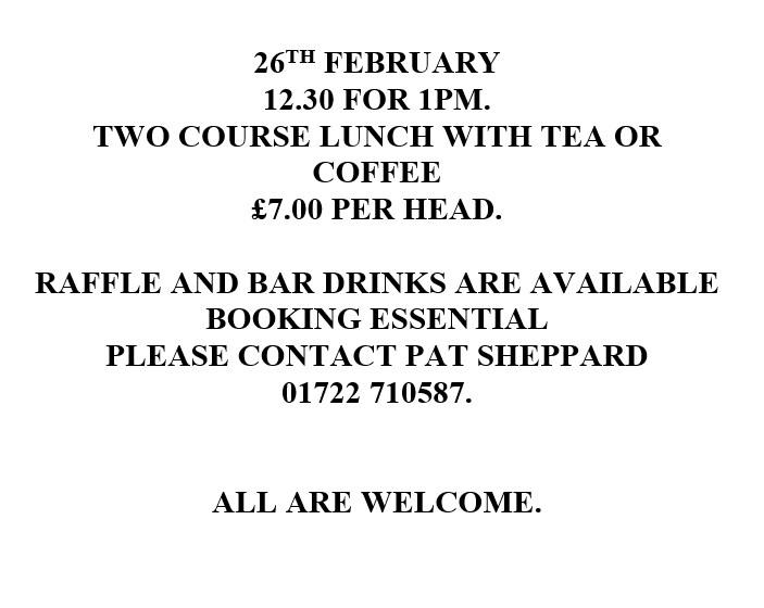 26th Feb lunch