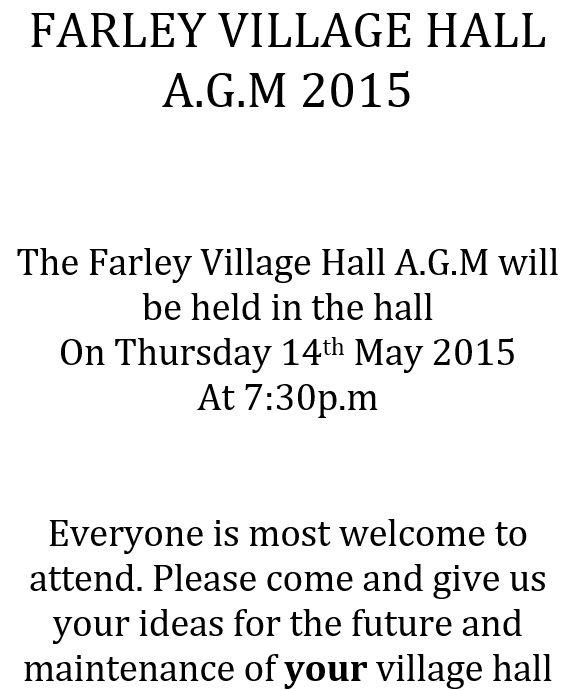 Farley Village Hall AGM