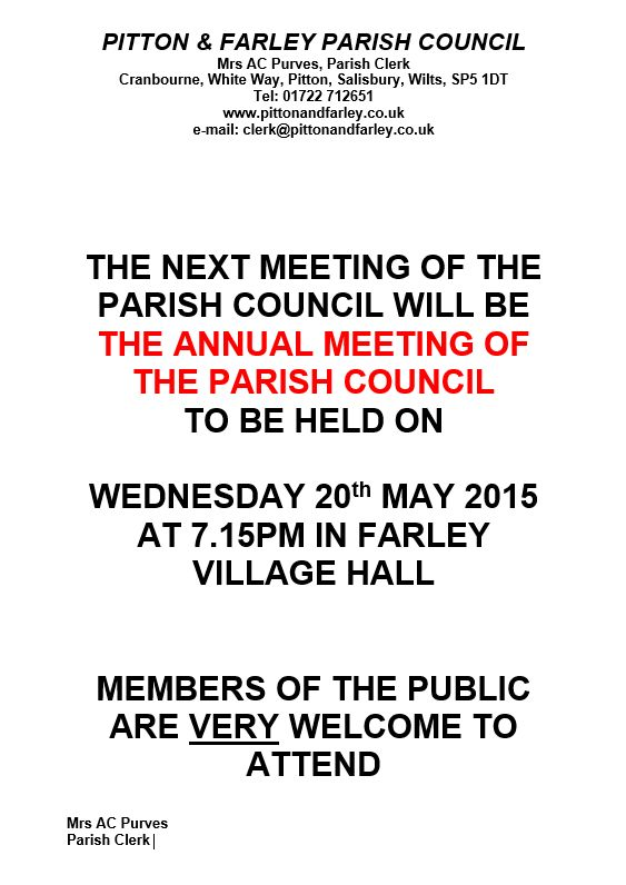 Notice for Annual Meeting of Parish Council