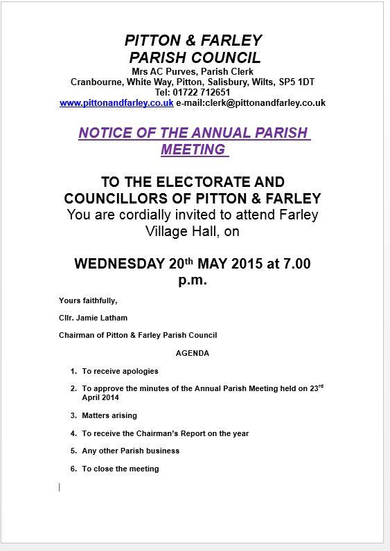 Notice for Annual Parish Meeting