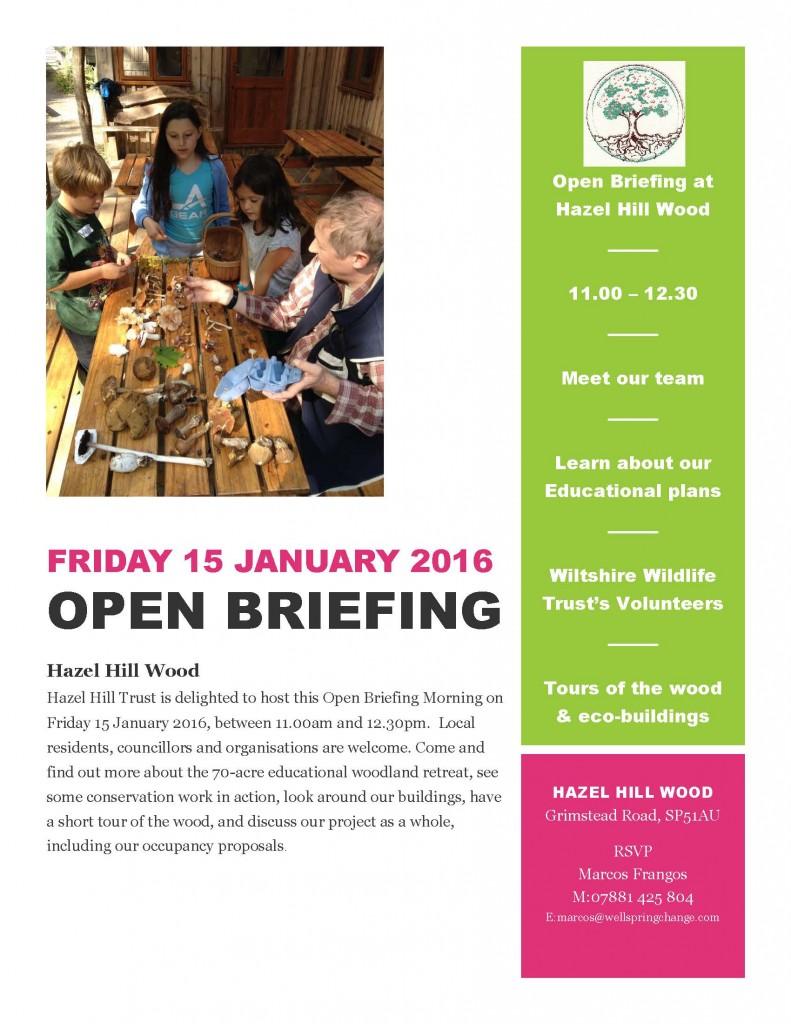 Flyer Fri 15 Jan 2016 Open Briefing morning at Hazel Hill Woodv1