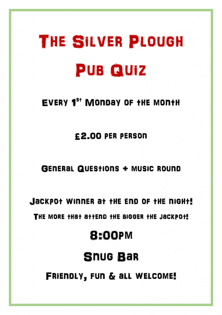 The Silver Plough pub Quiz