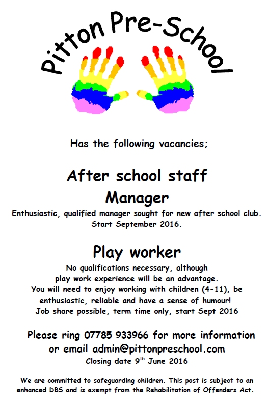 Job Advert poster - Apr16 - after school