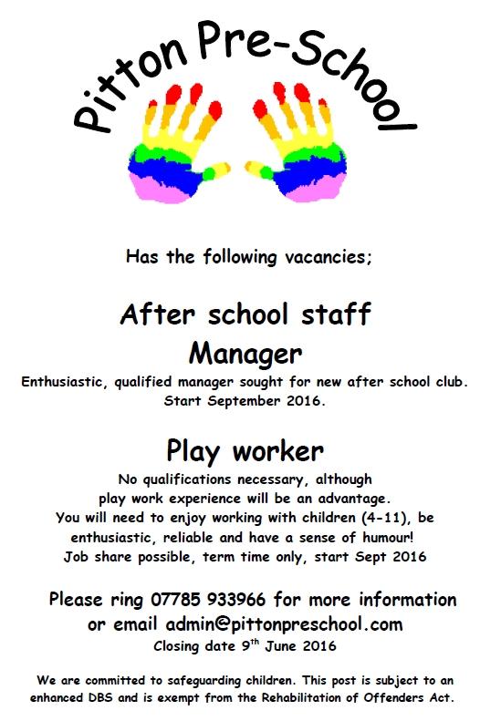 Job Advert poster - Apr16 - after school